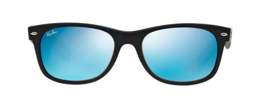 Ray Ban Rubber Black / Blue Mirror Wayfarer Sunglasses