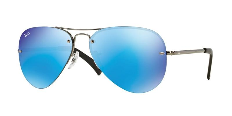 Ray Ban - RB3449 Silver/Blue Mirror Aviator Unisex Sunglasses - 59mm