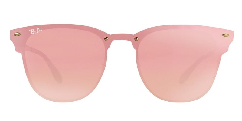 Ray Ban - Blaze Clubmaster Gold/Pink Mirror Shield Women Sunglasses