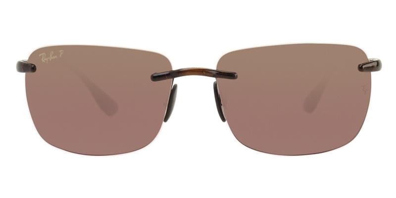 Ray Ban - RB4255 Brown/Red Polarized Rimless Men Sunglasses - 60mm