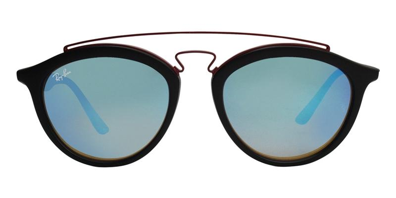 Ray Ban - RB4257 Black/Blue Mirror Oval Unisex Sunglasses - 53mm