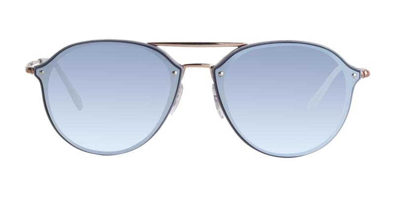 Ray Ban - RB4292N Blue Rose Gold/Blue Mirror Oval Unisex Sunglasses - 62mm
