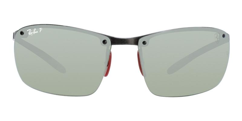 Ray Ban Ferrari Limited Edition  RB8305M Dark Carbon / Green Silver Lens Mirror Polarized Sunglasses