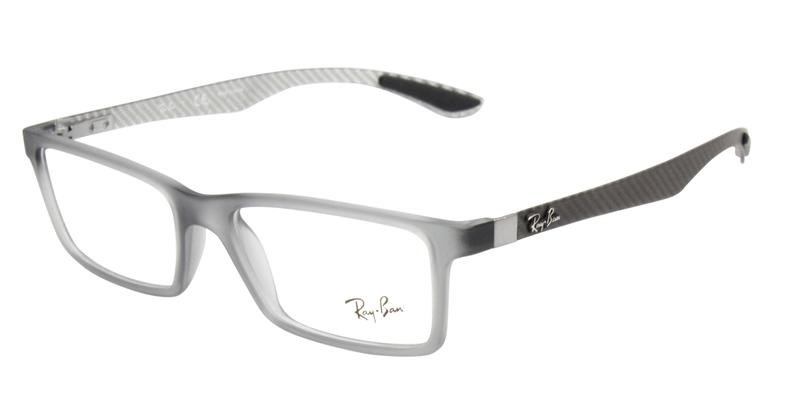 Ray Ban Rx - RX8901 Gray Rectangular Men, Women Eyeglasses - 53mm