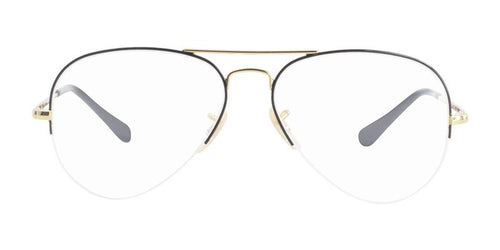 Ray Ban Rx - RX6589 Gold Aviator Unisex Eyeglasses - 56mm