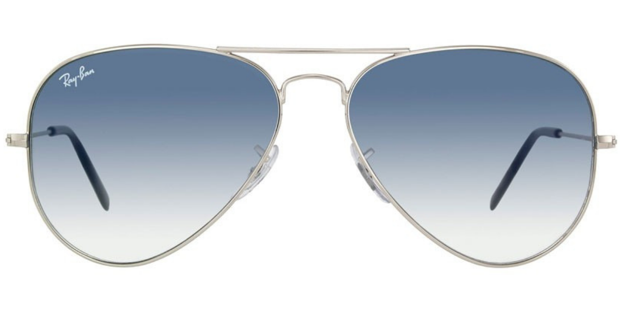 8b0f923b7979c Ray Ban Silver Aviator Crystal Gradient Light Blue Sunglasses RB ...
