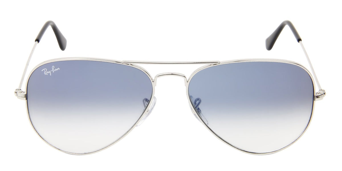 Ray Ban - Aviator Silver Aviator Unisex Sunglasses - 58mm-Sunglasses-Designer Eyes