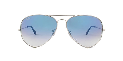 Ray Ban - Aviator Silver Aviator Unisex Sunglasses - 62mm-Sunglasses-Designer Eyes