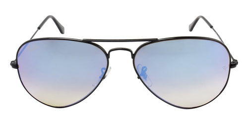 Ray-Ban Black Aviator RB 3025 w/ Blue Mirror Gradient Sunglasses
