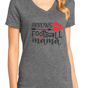 Arrows Football Mama V-Neck T-Shirt - Heather Gray
