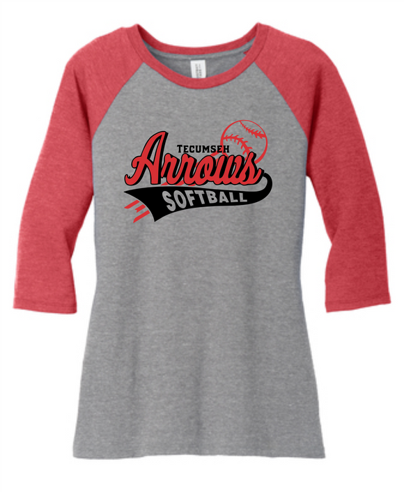 Tecumseh Arrows Softball WOMEN'S 3/4 Sleeve - Red/Gray