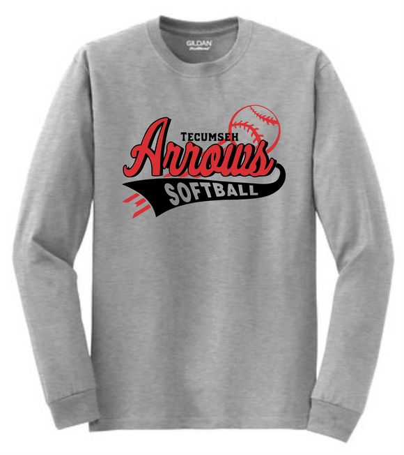 Tecumseh Arrows Softball Long Sleeve T-shirt - Gray