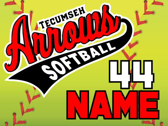 Tecumseh Arrows Softball Yard Sign