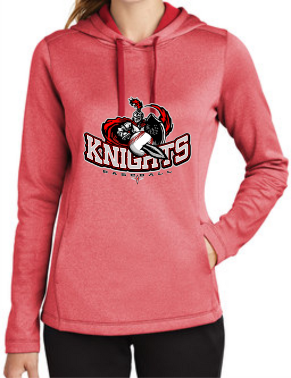 Knights Baseball Ladies Hoodie with Sword Logo RED or DARK HEATHER
