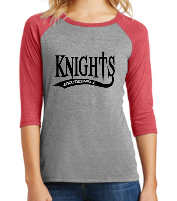 Knights Baseball Ladies 3/4 Sleeve Shirt with Tail Design