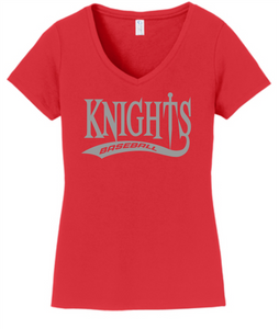 Knights Baseball Ladies V-Neck T-Shirt with Tail Design