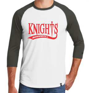 Knights Baseball 3/4 Sleeve New Era Shirt with Tail Design