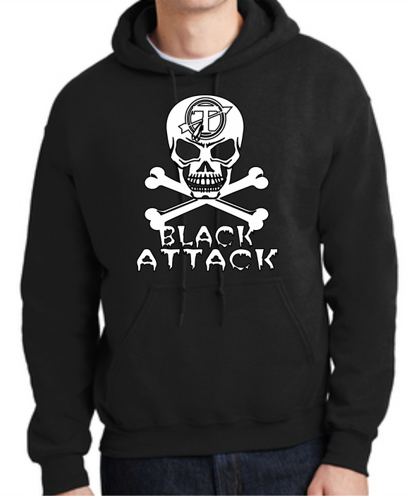 Tecumseh Black Attack Skull and Crossbones Hoodie - Black