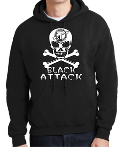 Tecumseh Arrows Softball Black Attack Skull and Crossbones Hoodie - Black