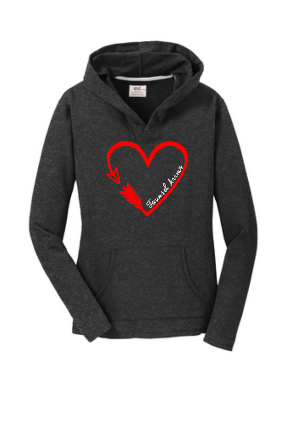 Arrow Heart Women's Pullover Hooded Sweatshirt - Dark Heather Grey