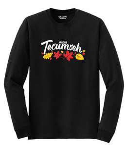 Tecumseh Leaves for Fall Long Sleeve T-Shirt - Black