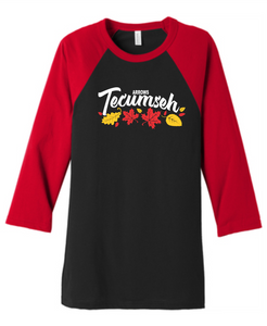 Tecumseh Leaves for Fall -Unisex 3/4-Sleeve - New Red/Black