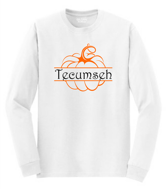 Tecumseh Whimsical Pumpkin Long Sleeve T-Shirt - White