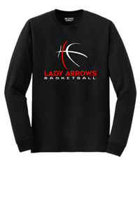 Tecumseh Lady Arrows Whimsical Basketball Long Sleeve T-Shirt - Black