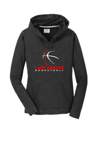 Lady Arrows Whimsical Basketball - Women's Pullover Hooded Sweatshirt - Dark Heather Grey