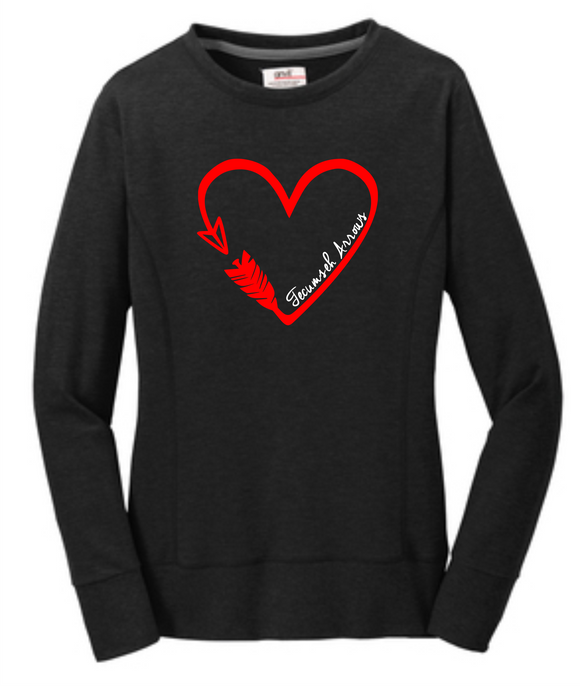 Arrow Heart Ladies Crewneck Sweatshirt - Black