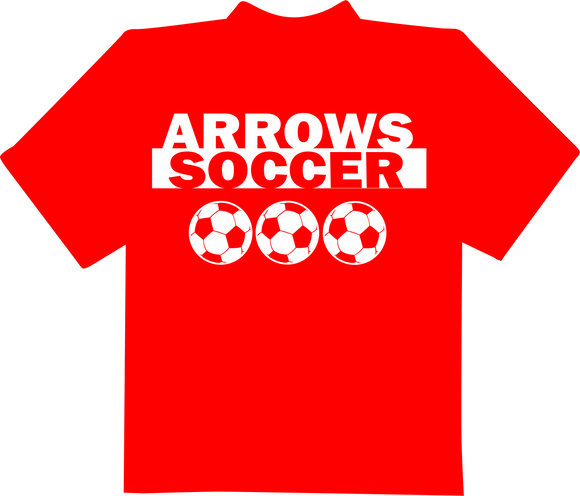 Tecumseh Arrows Soccer in Reverse with Soccer Balls T-Shirt - Red