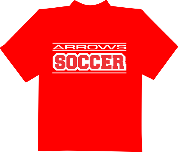Arrows Soccer in Block Letters T-Shirt - Red