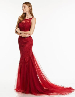 Red Evening Dress - Sleeveless Mermaid Fashion