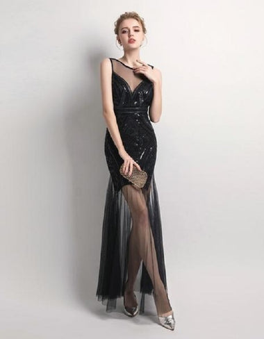 Sequins Beaded Evening Dress
