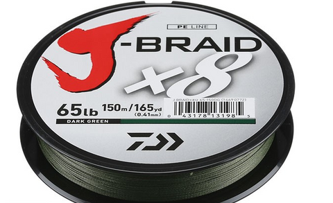 Daiwa J-Braid 8X Braided Line Dark Green 165yds