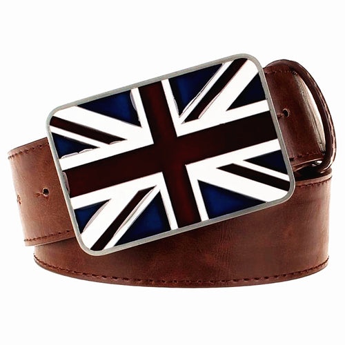 Union Jack Leather Belt + Belt Buckle