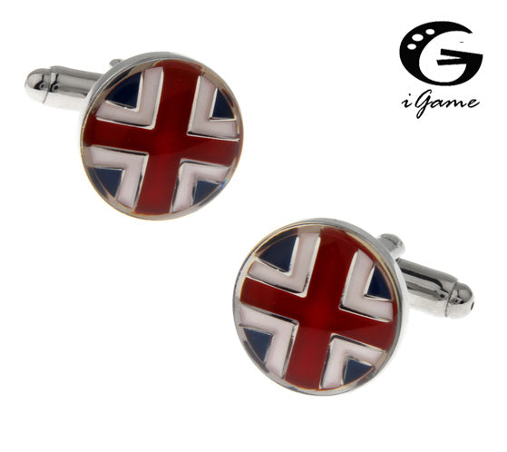 Union Jack Round Cuff Links