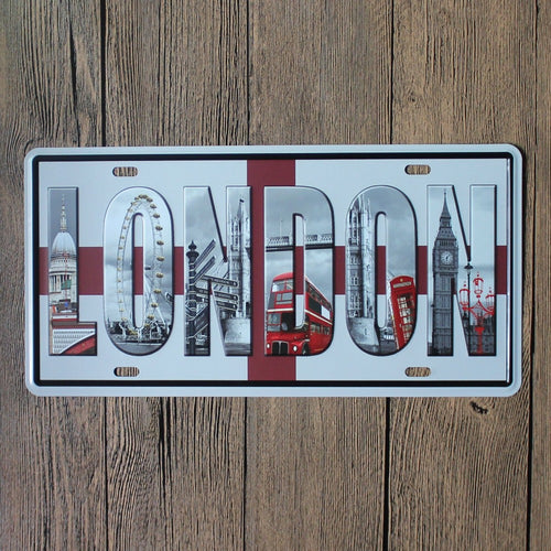 London Metal Car License Plate