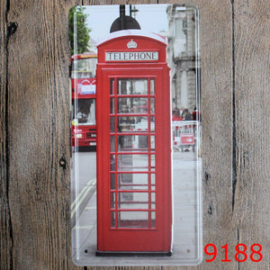 London Phone Booth Tin Sign