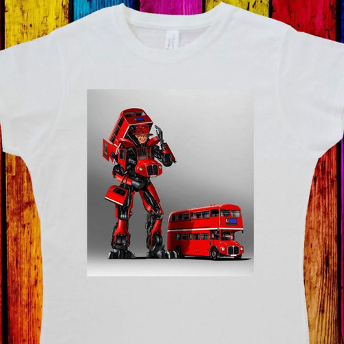 Queen Elizabeth II Women's Tee Double Decker Bus Robot