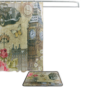 London Vintage Shower Curtain and Mat Set