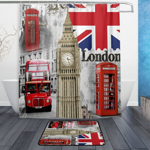 London Shower Curtain and Mat Set