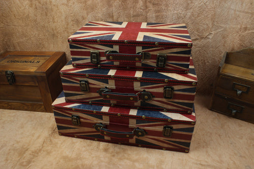 Union Jack Antique Vintage Display Suitcases