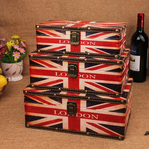 Retro Union Jack London Wooden Storage Box Set