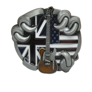Guitar Union Jack/USA Belt Buckle
