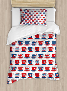 Union Jack Tea Cup Duvet Cover Set