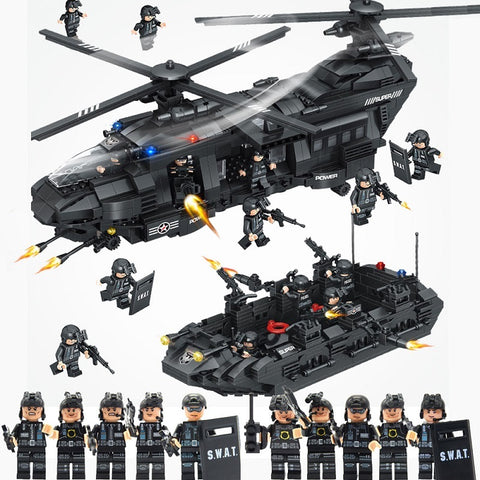 1351pcs Military Swat Team Minifigures & Helicopter Toy Set - Bluejay Goods