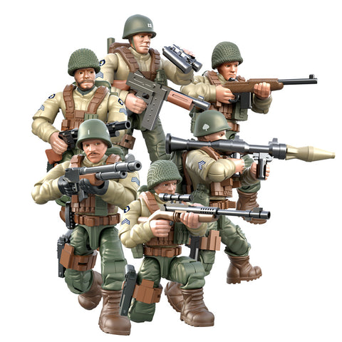 6Pcs WW2 Army Military Soldier City Police SWAT With Weapon - Bluejay Goods