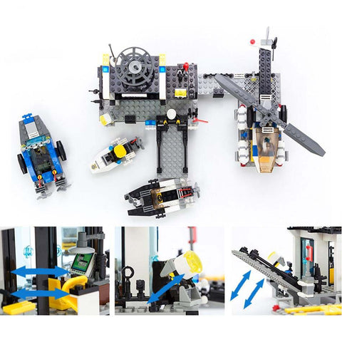 Police Station Prison Trucks Building Blocks - 536 Pieces - Bluejay Goods