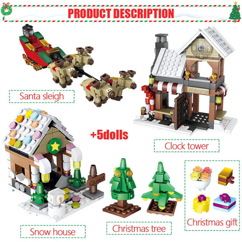 741pcs Winter Village Christmas Santa Claus Figures Set - Bluejay Goods